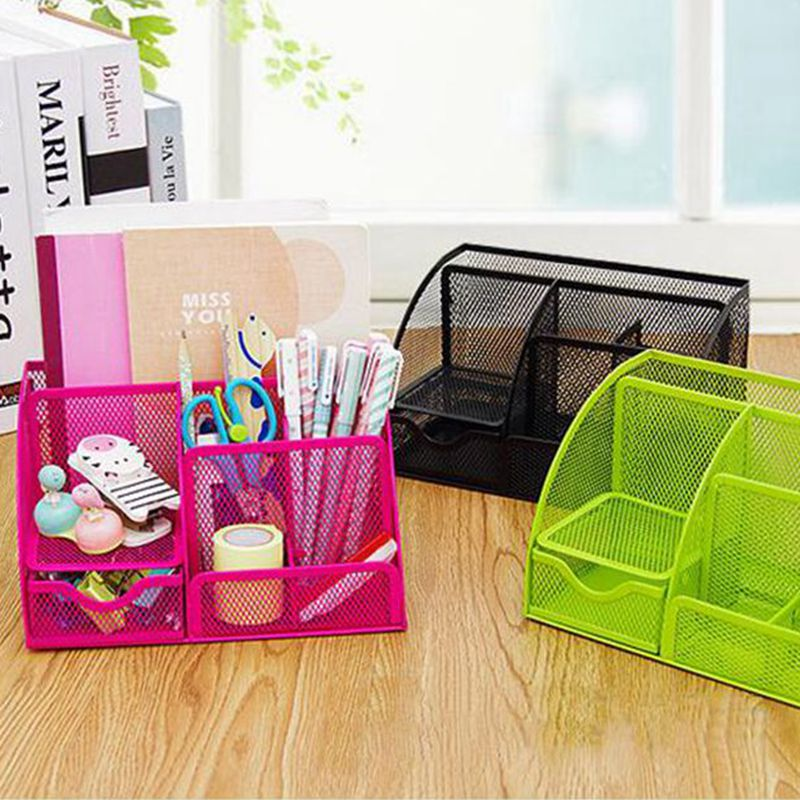 2016 hot sale Storage boxes colorful makeup organizer useful storage basket cute metal office desktop organizer