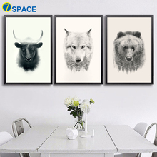 7-Space Nordic Abstract Cattle Wolf Bear Wall Art Canvas Prints Vintage Painting Pictures For Living Romm Home Decor