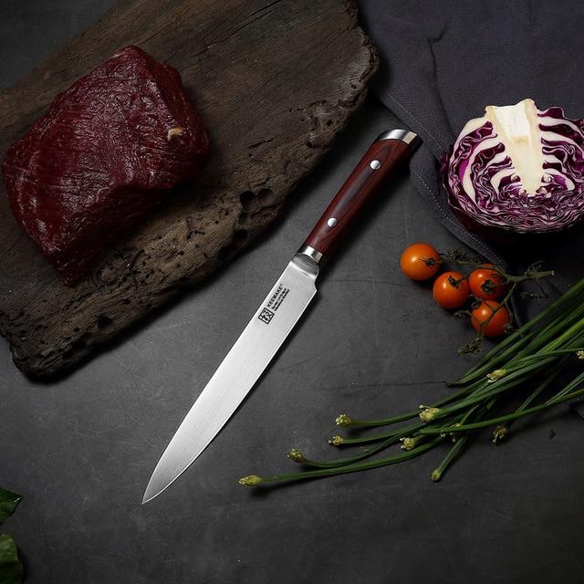 "2018 SUNNECKO Professional 8"" Slicing Knife German 1.4116 Steel Blade Kitchen Knives Sharp Meat Cut Chef Knife Color Wood Handle"