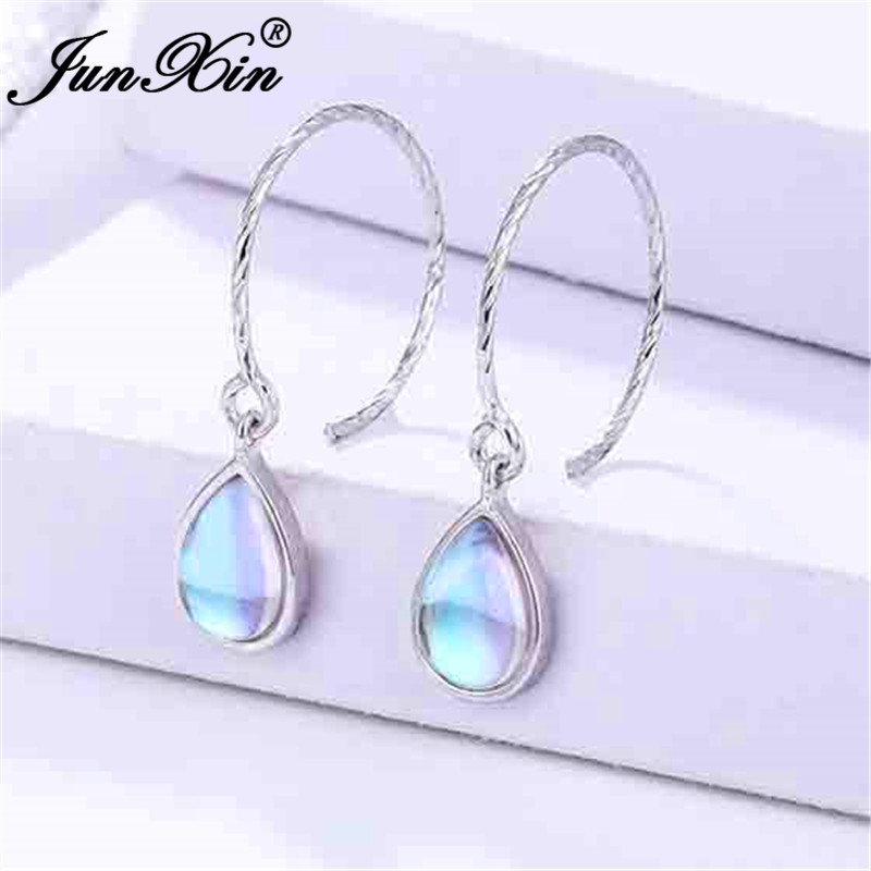 JUNXIN White Gold Filled Clear Moonstone Hoop Earrings For Women Rainbow Opal Earrings Female Big Hook Earrings Jewelry