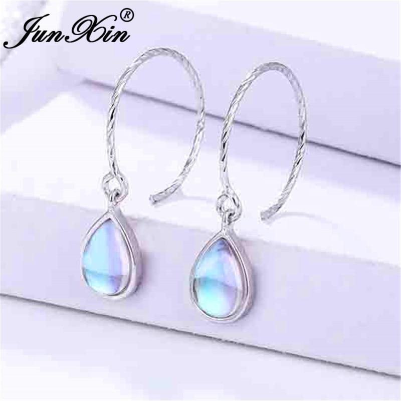 JUNXIN White Gold Filled Clear Moonstone Hoop Earrings For Women Rainbow Opal Earrings Female Big Hook Earrings Jewelry