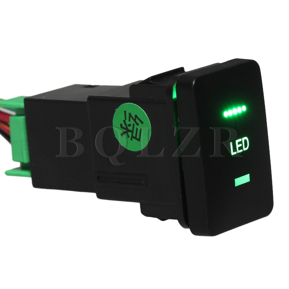 BQLZR Push Switch with Harness S-NT Toggle Switch Double Green Pattern for Toyota bqlzr dc12 24v black push button switch with connector wire s ot on off fog led light for toyota old style