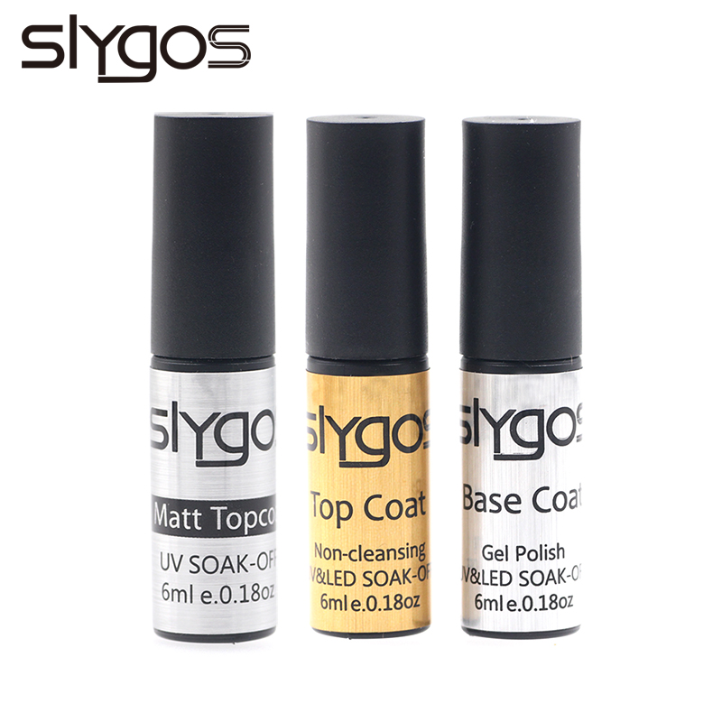 SLYGOS 6ML Portable Nails Gel Polish TOP BASE Coat Long Lasting Soak Off Base Gel Nail Art Matt Topcoat UV Gel Varnish Manicure