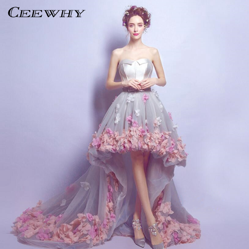 CEEWHY robe de Noiva Sexy sans bretelles court avant dos longue dentelle fleur robe de soirée mariée formelle robe de soirée