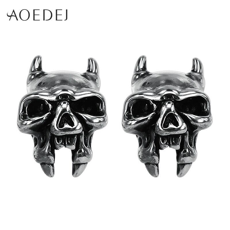 AOEDEJ Hounds Gog Head Skull Earrings Punk Stainless Steel Women Mens Earrings Studs Ear Gothic Jewellery Brinco Masculino