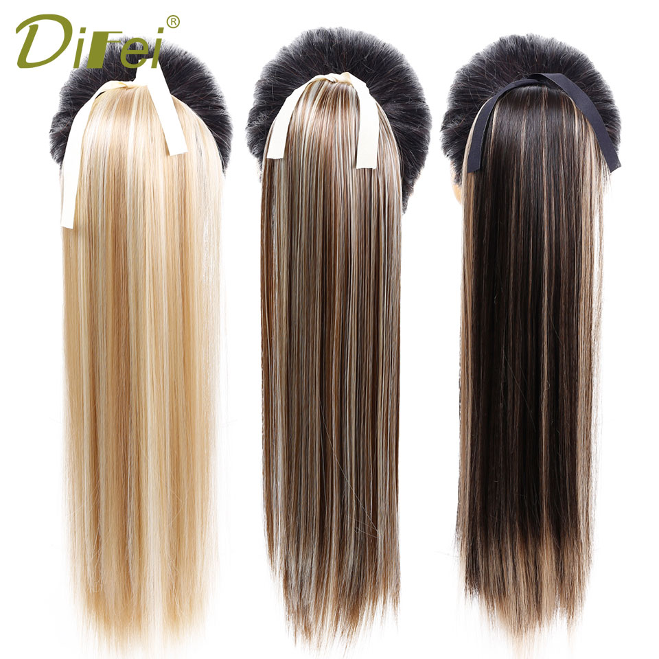 DIFEI Long Straight Clip In Hair Extension Tail False Hairpiece With High Temperature Fiber Synthetic Hair Pony Tail