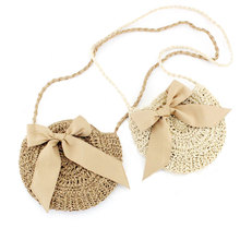 Women Messenger Straw Bag Rattan Crossbody Shoulder Bag Lace Bow Handbag Bohemian Circular Beach Bags Summer straw cotton rope beach bag summer crossbody bags for women 2019 handmade brand shoulder messenger shopping bag women bag