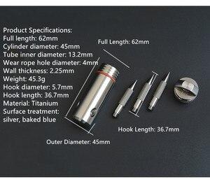Image 5 - チタンカプセルグラップリングフック容器防水収納ボックス edc 屋外カプセルタブレット現金ピル生存ボックス