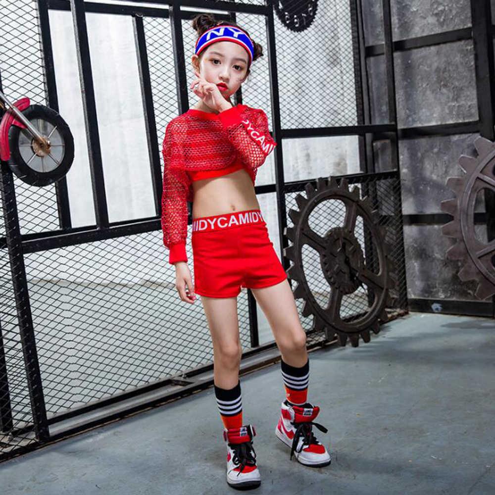 Комплект из 3 предметов для девочек, красный крутой танцевальный костюм в стиле джаз, хип-хоп, танцевальный костюм топы на бретелях, шорты, блузка в сетку для детей, Одежда для танцев