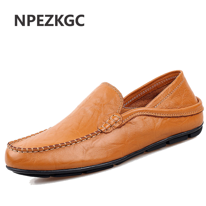 NPEZKGC Big Size 45 46 Summer Genuine Leather Shoes Men Casual Moccasins Mens Slip-On Loafers Breathable Driving Shoes подвесная люстра аврора таверна 10078 5l