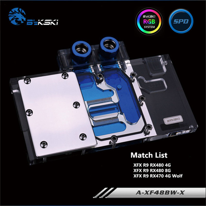 Bykski Full Coverage GPU Water Block For XFX R9 RX480 R9 RX470 Wolf Graphics Card A-XF48BW-X bykski a xf37bwpk x full cover graphics card water cooling block for xfx r9 370 370x 380 380x