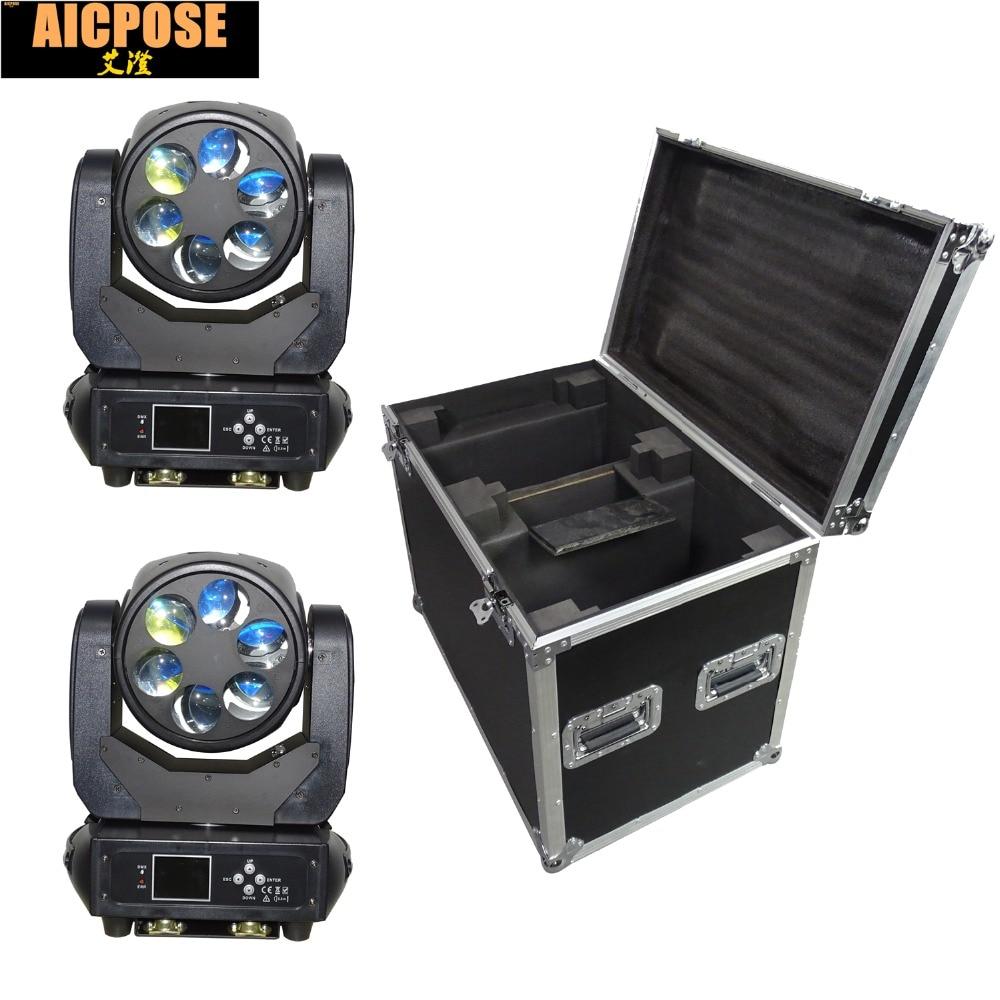2 шт./лот 6x25 Вт супер луч света DMX512 зум/поворот перемещение головы/бар/Show /Свет этапа светодиодный Стадия Llight с кейс