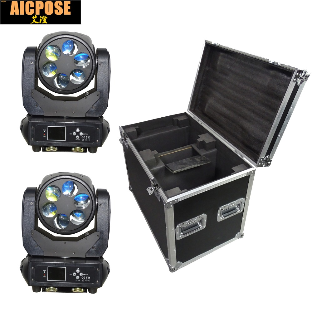 2pcs/lot 6x25w Super Beam Light DMX512 Zoom/Rotate Moving Head Light /Bar /Show /Stage Light LED Stage Llight with flight case