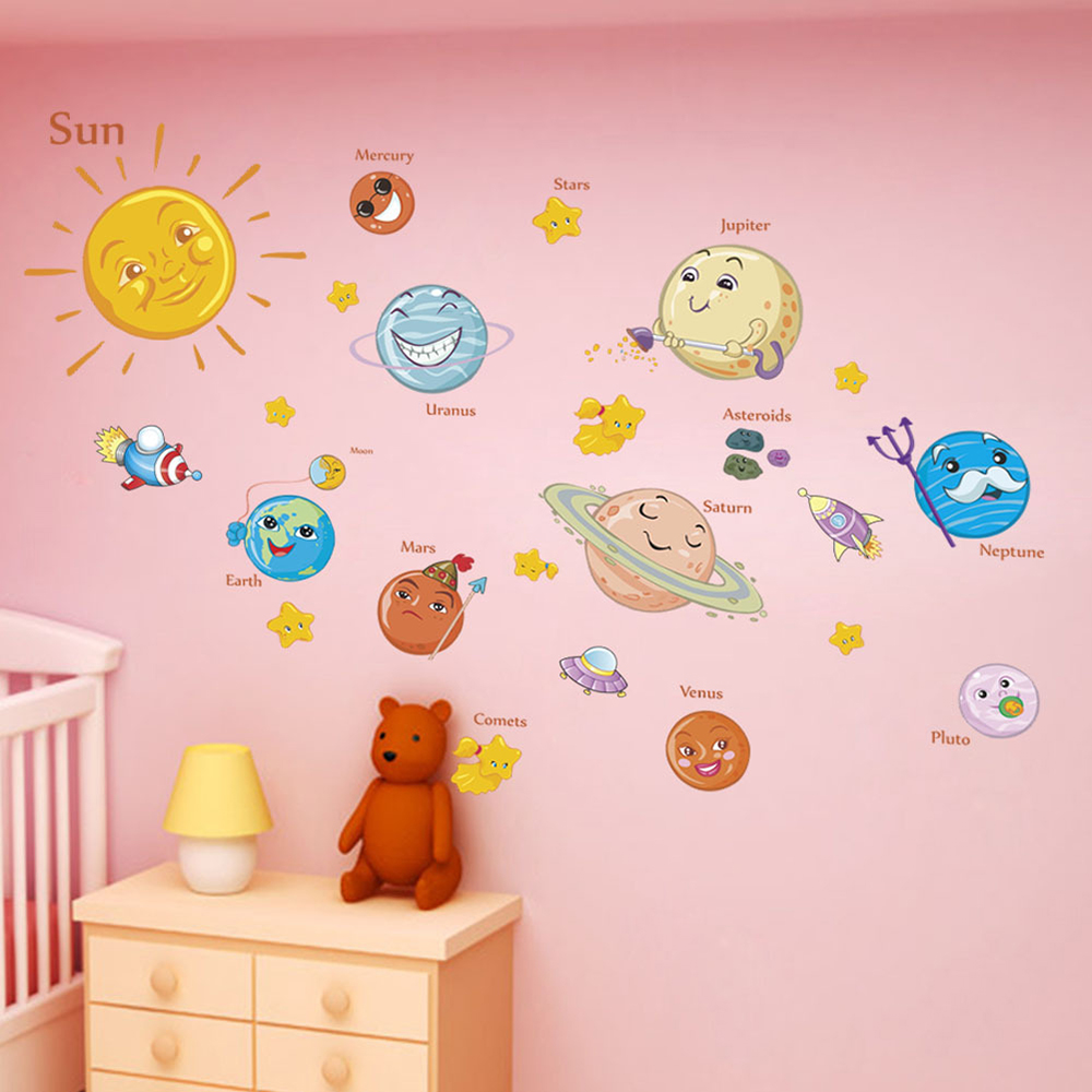 1Pc Cartoon Solar System Milky Way Wall Sticker For Kitchen Bar Bedroom Children Room Home School Decoration Stickers & Posters
