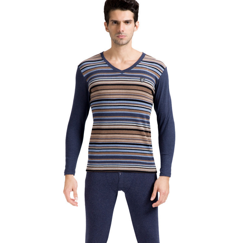 CILER New Man's Stripe V neck Warm 97% Lycra Cotton Thermal Underwear Long Johns Set Thick for Autumn Winter Thermo Underwear