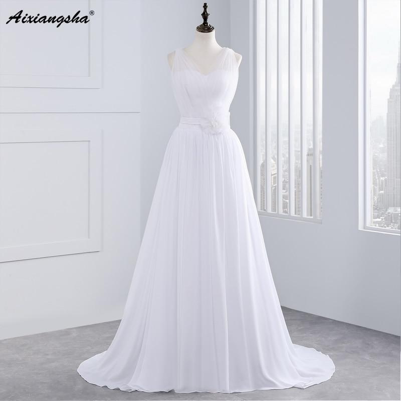 Vestidos de noiva 2017 new a line tank v neck flowers for Simple wedding dresses under 100