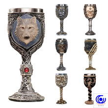 3d Skull Wolf Goblet Cool Stainless Steel Beer Mug Cup Gift for Men Original Design Halloween Personalized 200ml 200ml hot sale creative home decoration 3d resin skull shape stainless steel wine goblet
