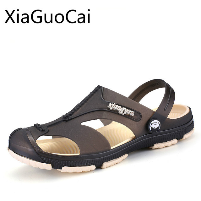 80b928f40b76f Hot Sale Retro Men Slippers Two Way Pvc Beach Sandals for Mens Summer  Platform Slides Fashion Slippers Drop Shipping W14 35