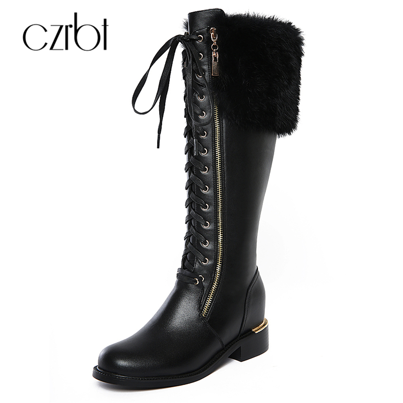 CZRBT Autumn Winter Women Boots Cow Leather Rabbit Fur Knee-High Genuine Leather Boots Height Increasing Black Thigh High Boots memunia cow split knee high boots solid flock height increasing women boots in autumn winter elegant fashion boots zip work