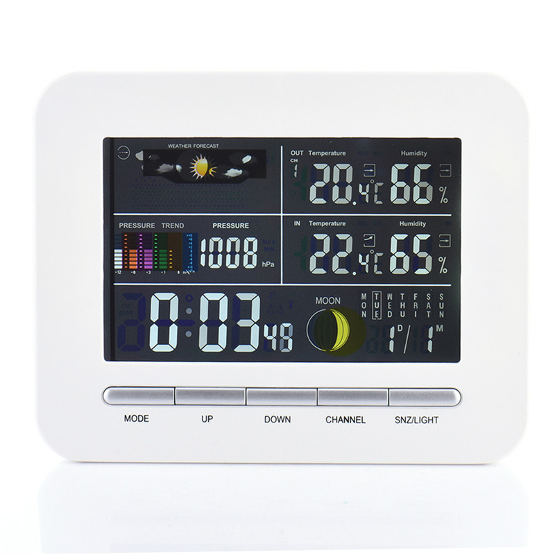 RF RCC Wireless Weather Station with Indoor Outdoor Thermometer Hygrometer Barometer Digital Alarm Clock Power Adapter