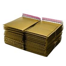 50 adet/grup altın kaplama kağıt kabarcık zarf çanta postaları yastıklı nakliye zarf kabarcık posta çantası