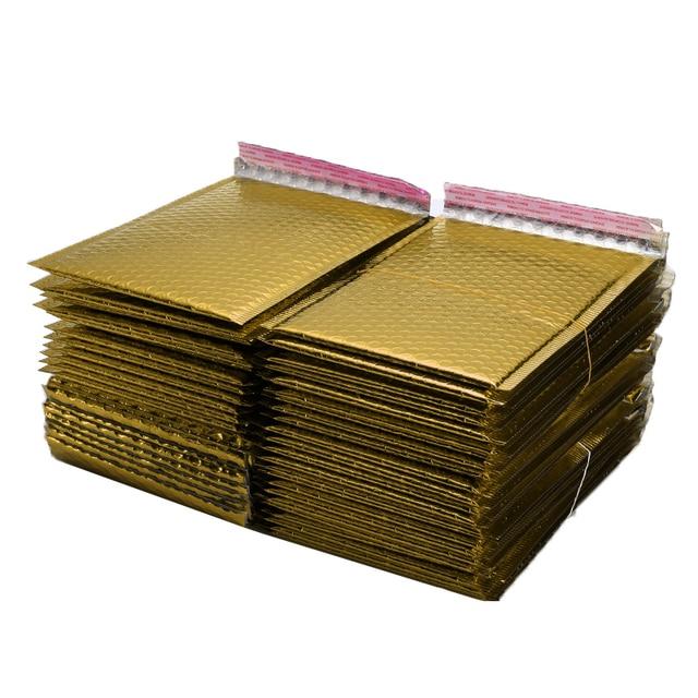 50 sztuk/partia złocenie papierowe koperty bąbelkowe torby Mailers wyściełane koperty wysyłkowe z bąbelkową torbą pocztową