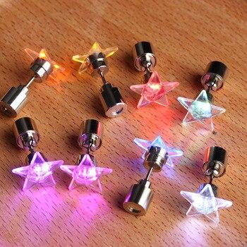 1 Pair 9 Colors LED Earring Light Up Bright Stud Earrings Star Glowing Ear Stud For DJ Dance Party Bar Girl Ear Stud Blinking 2
