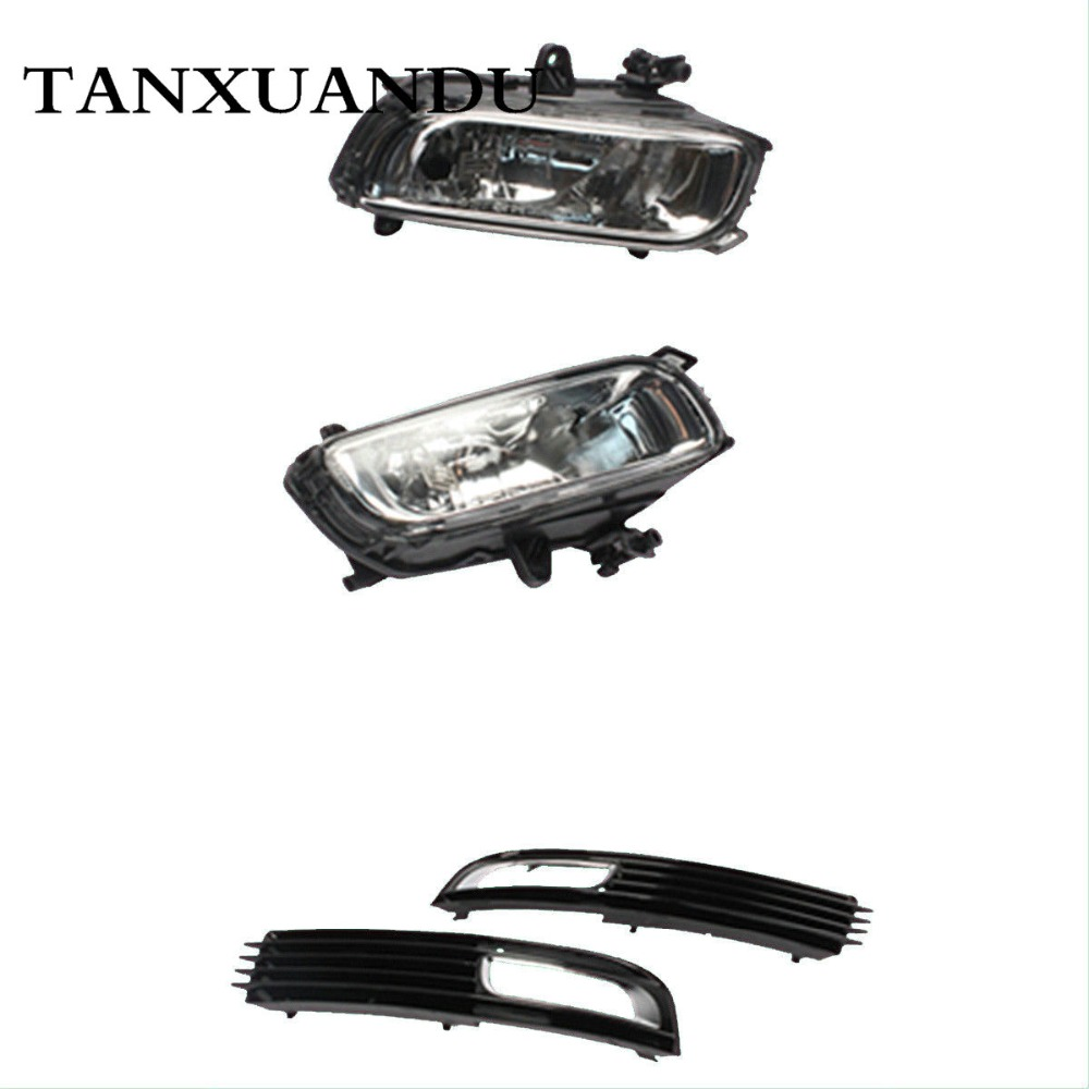 Front Bumper Lower Fog Light Grill Grille Cover & Halogen