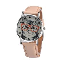 Cat Pattern Leather Band Analog Quartz Vogue Wrist Watch Free shipping #460717