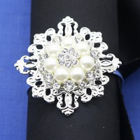 10/pcsHandmade silver pearl alloy flower napkin ring welding diamond restaurant table decoration