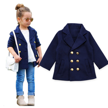 Jackets for Girls Knitted Kids Outerwear Coat Navy Blue Clothes Turn-down Collar 2019 Fashion