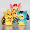 3 estilos Cosplay Mega Pikachu Charmander Juguetes de Peluche Lindo de la Felpa Animales de Peluche Juguetes de Peluche Colgante Llavero