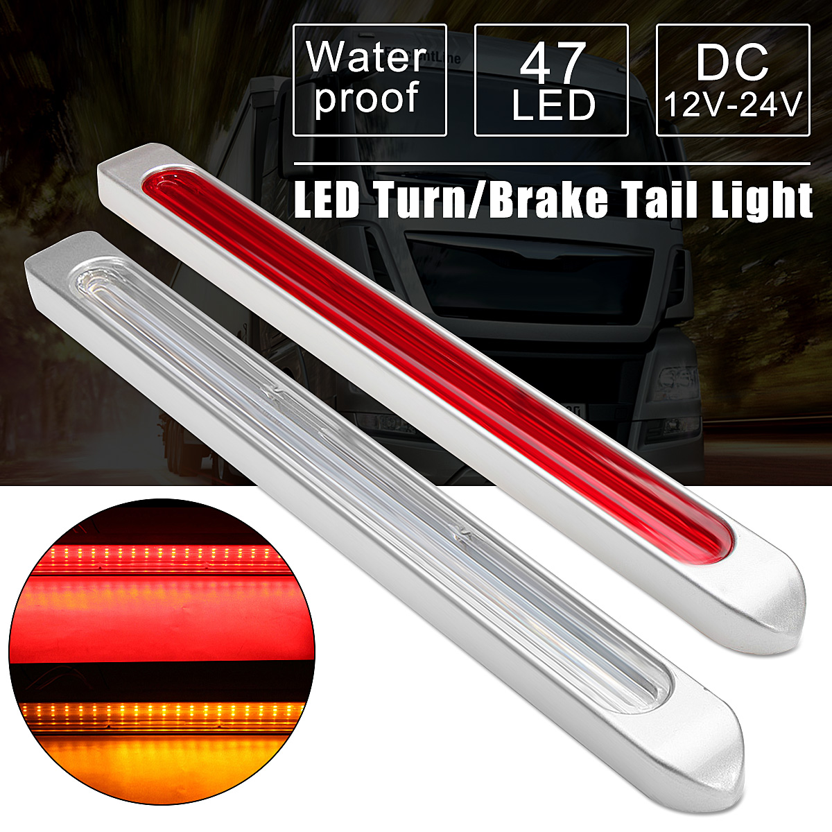 Universal LED Car Auto Brake Light Bar Tail Stopping Lamp 48LED Rear Tail Warning Light Lamp Turn Light Parking 12-24V dc 12 24v car rear warning light licence plate lamp tail lamp 12leds car styling round led number plate light