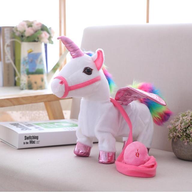 35cm Singing and Walking Unicorn Electronic plush Robot Horses New Christmas Gift Electronic plush toys for Kids birthday gifts