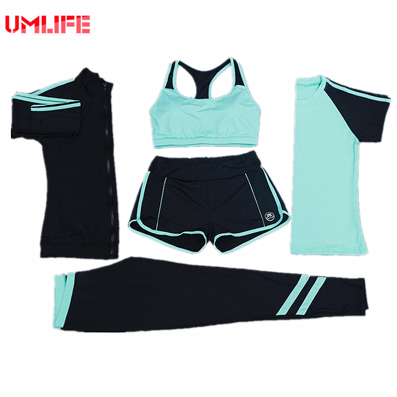 UMLIFE Sports Suit Women Yoga Set Outdoor Fitness Yoga Bra Running T-shirt Yoga Pants 5 Pieces Set Leggins Sport Women Fitness 2018 new bright gym clothes colors solid and patchwork female summer yoga suit t shirt bra leggings 3 pieces yoga set for women