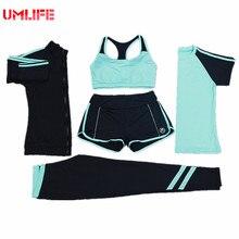 UMLIFE Mujeres Juego de Los Deportes de Yoga Set Yoga de Fitness Al Aire Libre corriendo Camiseta Pantalones de Yoga 4 Unidades Conjunto Deporte Mujeres Leggins gimnasio
