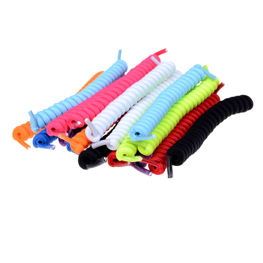 1Pair Curly Elastic Shoelaces No Tie Trainer Kids Shoe Laces Colours For Childs And Adults Best In Sports Flat Shoelace Hot Sale