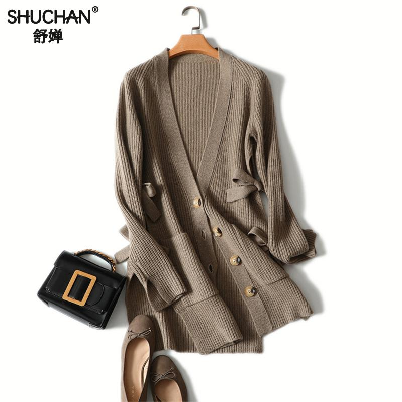 Shuchan Fashion Long Cardigan Ladies 2018 New Knit Sweater Women Large Warm 100% Cashmere Cardigan Coat Jacket Winter Clothing