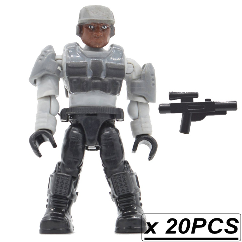 20pcs/lot Warriors Building Blocks Bricks Halo Wars Games Plastic Armors Kids DIY Gifts Toys with Weapons Guns wars guns and votes