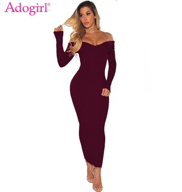 fda1459a30 Adogirl Women Ribbed Maxi Dress Sexy V Neck Long Sleeve Off Shoulder  Bodycon Long Party Dresses Bandage Club Wear Clearance Sale