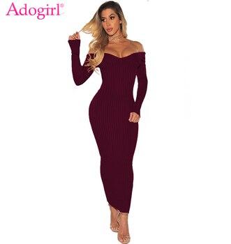 Adogirl kobiety żebrowane sukienka w dużym rozmiarze Sexy V Neck z długim rękawem Off ramię Bodycon długa strona sukienki bandaż sukienka do klubu wyprzedaż