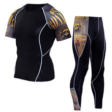 Men's Compression Run Jogging Suits Clothes Sports Set Short T Shirt and Pants Gym Fitness Workout Tights Clothing 2pcs/Sets