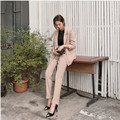 Стильный простота женская карьера костюмы женский костюм повседневная мода новый женский дикий сплошной цвет из двух частей leisure suit