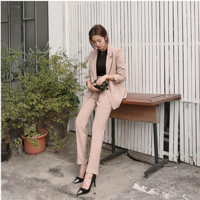 Simplicidade elegante feminino ternos de carreira terno feminino casual moda de nova fêmea selvagem cor sólida duas peças terno do lazer