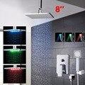 "Home Bathroom 8"" LED Rainfall Shower Head LED Chrome Hand Held Shower Kit Shower Set Faucets"