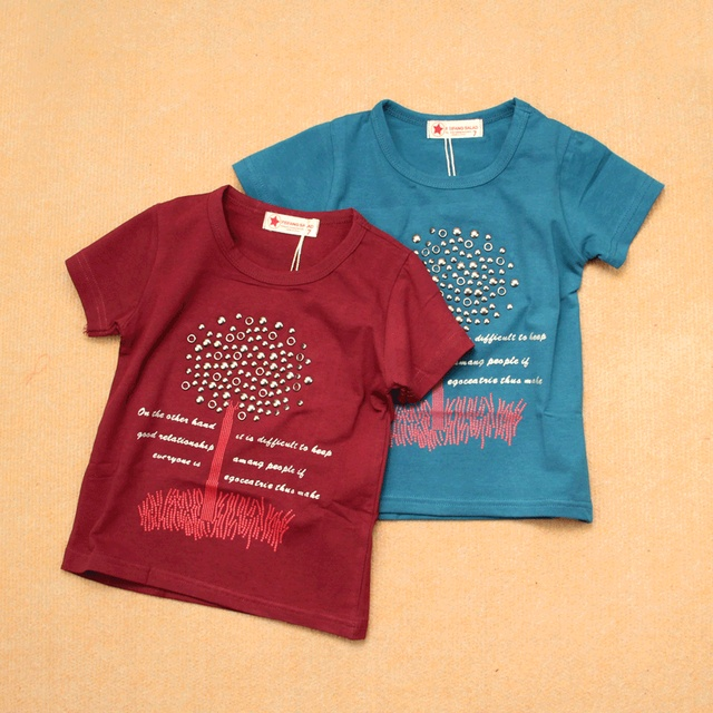 Short in size summer rivet baby short-sleeve T-shirt male female child modal cotton undershirt claretred