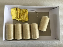 Thread needle kit 25 pcs C curved needle with 5 small rolls blonde color hair weaving cotton thread