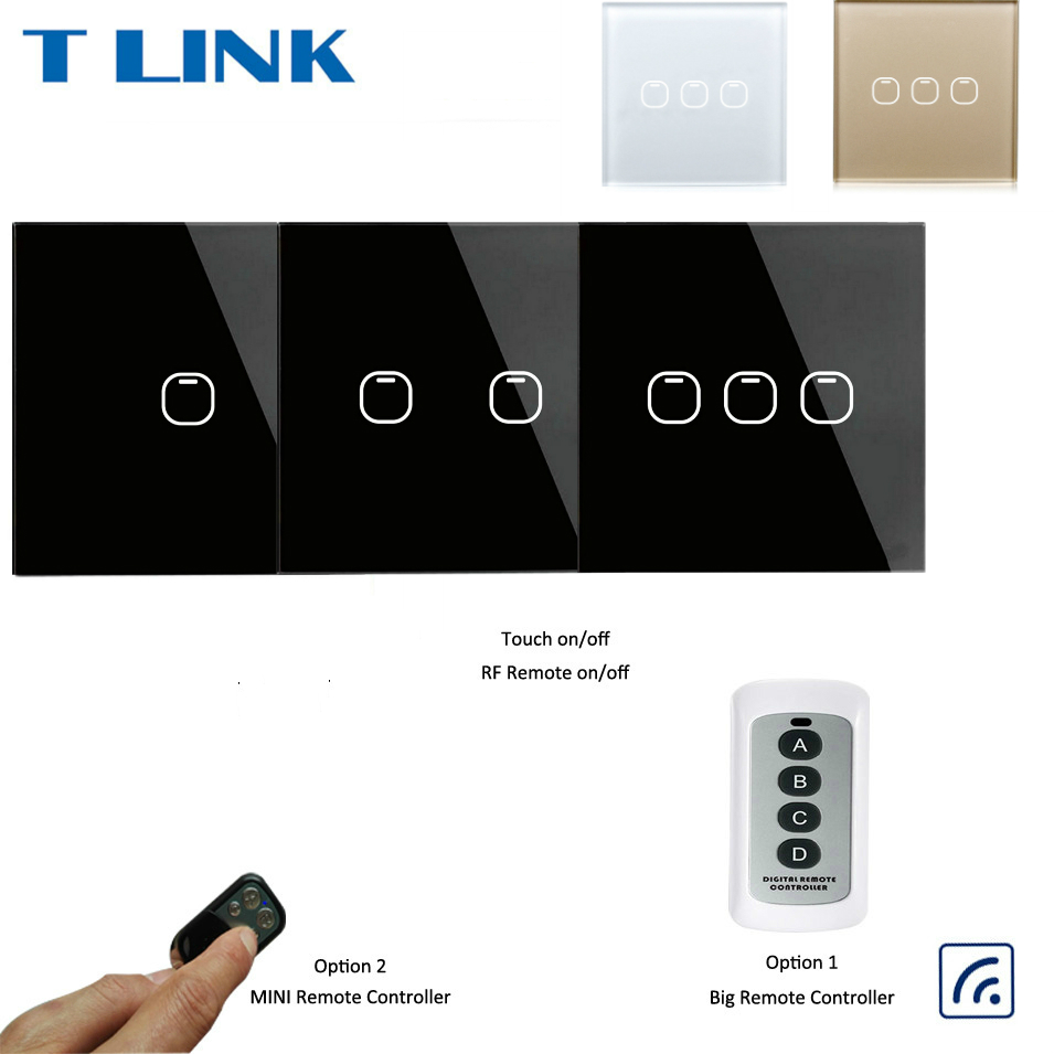Touch Switch 1 2 3 Gang 1 Way Wireless Remote Control Light Switch LED Indicator For RF433 Smart Home Touch Switch Big Remote eu type eruiklink wireless remote control touch switch 1 gang 1 way rf433 smart home wall switch glass panel led indicator