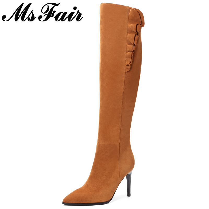 MsFair Pointed Toe Thin Heels Women Boots Ruffles High Heel Knee High Ladies Boots Fashion 2017 Winter Short Plush Women's Boots hot selling 2015 women denim boots pointed toe tassel patchwork knee high boots crystal thin high heels winter motorcycle boots
