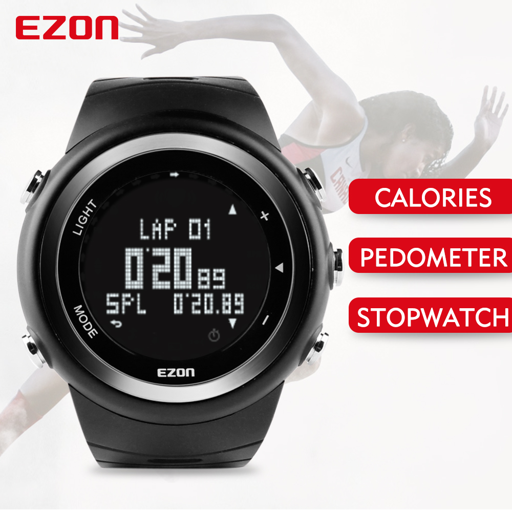 EZON T023 Men's Sport Digital-watch Hours Running Fitness Calorie Counter Watches Pedometer Digital Wrist Watch for Men Women high quality multifunctional gps running sports watch 5atm waterproof pedometer calorie counter digital watch ezon t031a03